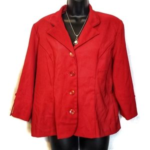 DBY Ltd. Long Sleeve Petite Jacket Red Blazer 16p